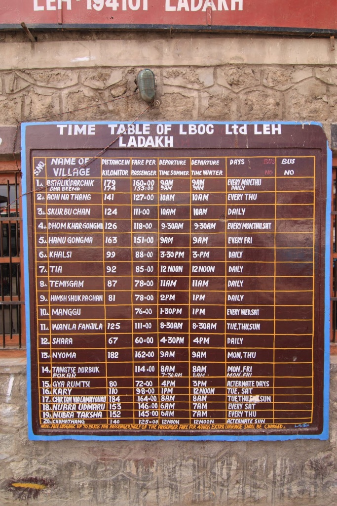 Time table of bus services in leh ladakh region india for Table 52 go bus
