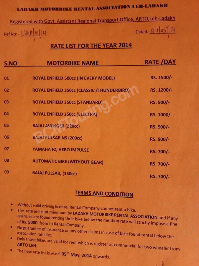 Best Starter Bikes >> Ladakh Motorcycle Rental Rate List 2014   India Travel ...